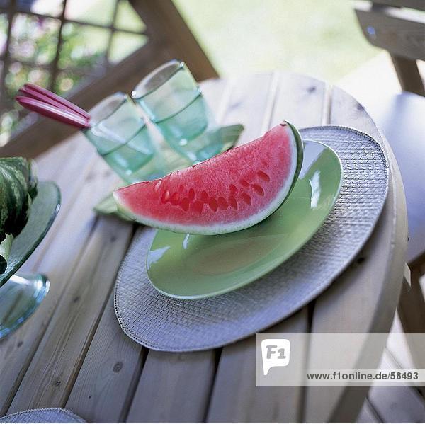 Slice der Melone auf Platte