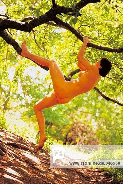 Nackte Frau Klettern Baum - Lizenzpflichtiges Bild