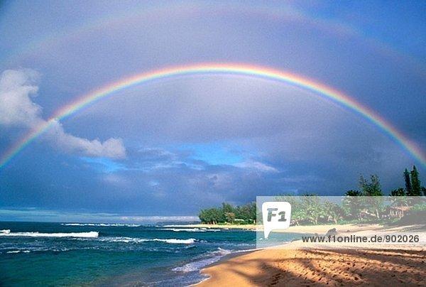 Doppel-Rainbow und Abend Licht auf Tunnels Beach, North Shore, Insel Kauai, Hawaii