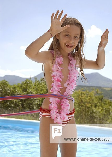 blond,einlochen,Feston,jung,Mädchen,pink,Schwimmbad