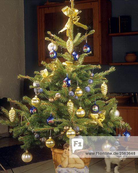 weihnachtsbaum geschm ckt mit kugeln lizenzfreies bild. Black Bedroom Furniture Sets. Home Design Ideas