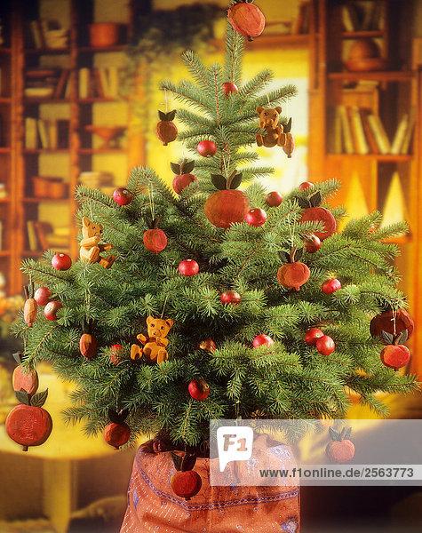 weihnachtsbaum geschm ckt mit pfeln lizenzfreies bild bildagentur f1online 2563773. Black Bedroom Furniture Sets. Home Design Ideas