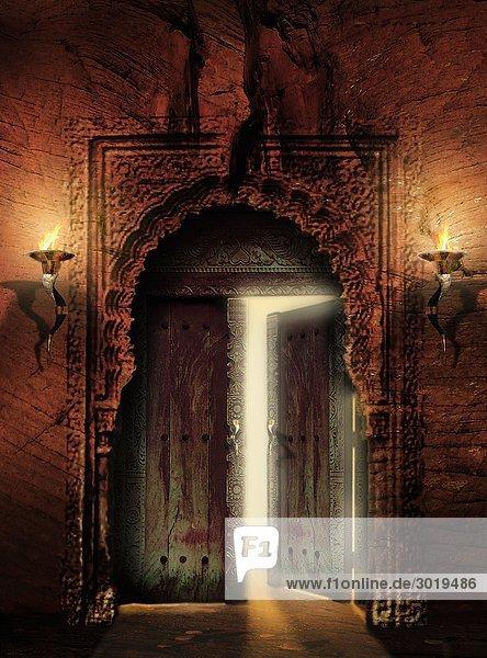 Halb Geöffnete Tür
