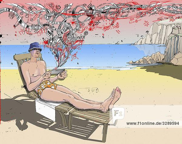 mann auf liegestuhl am strand lizenzpflichtiges bild bildagentur f1online 3289594. Black Bedroom Furniture Sets. Home Design Ideas