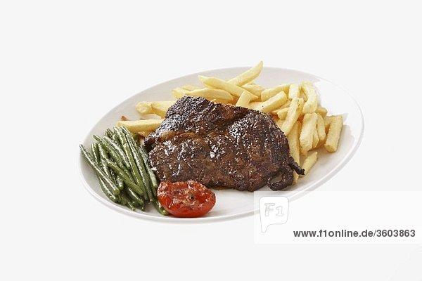 steak mit pommes frites und gr nen bohnen lizenzfreies bild bildagentur f1online 3603863. Black Bedroom Furniture Sets. Home Design Ideas