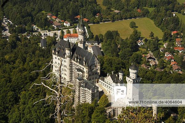 Schloss neuschwanstein bei schwangau im allg u aus der vogelperspektive bayern deutschland - Vogelperspektive englisch ...