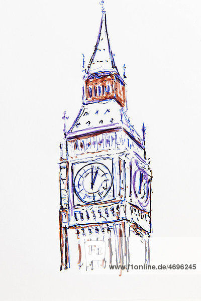 big ben england gro britannien kriftel london zeichnung von gerhard kraus glockenturm. Black Bedroom Furniture Sets. Home Design Ideas