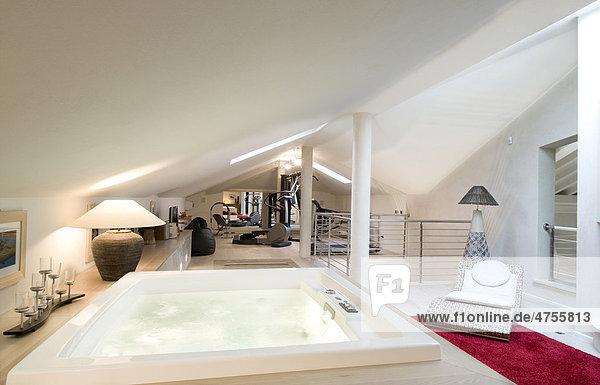 Moderne Wohneinrichtung, Badewanne in einem Wohnzimmer ...