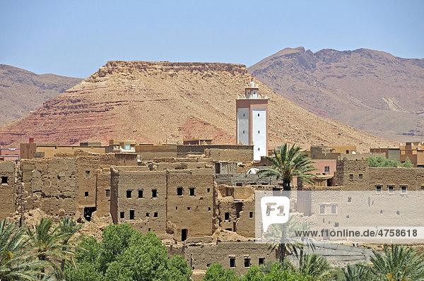 teilweise verfallene h user in der oasenstadt tinerhir region souss massa dara marokko. Black Bedroom Furniture Sets. Home Design Ideas