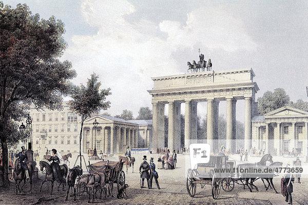 brandenburger tor um 1850 deutschland europa historische stadtansicht stahlstich aus dem 19. Black Bedroom Furniture Sets. Home Design Ideas
