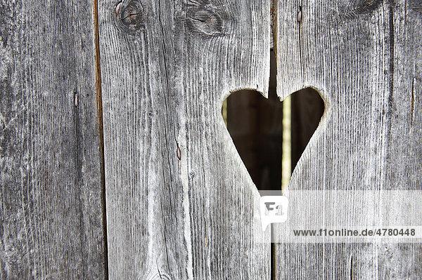 Holztür mit Herz, Klohäuschen, Klotür, Toilettentür, Plumpsklo