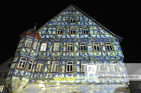 deutschland europa fachwerkh user historische altstadt illumination marktplatz rems murr. Black Bedroom Furniture Sets. Home Design Ideas
