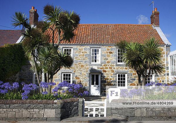 europa guernsey kanalinseln mit vielen blumen und pflanzen typisches guernsey haus aus. Black Bedroom Furniture Sets. Home Design Ideas