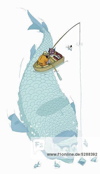 Angler fängt einen riesigen menschenähnlichen Fisch
