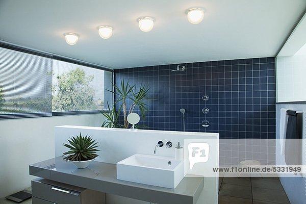 badezimmer dusche fliesenboden modern offen lizenzfreies bild bildagentur f1online 5331949. Black Bedroom Furniture Sets. Home Design Ideas