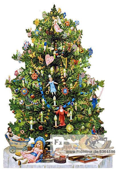 geschm ckter christbaum weihnachtsbaum historische. Black Bedroom Furniture Sets. Home Design Ideas