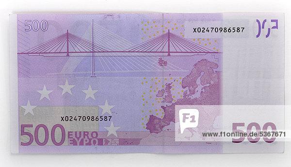 500 euro geldschein banknote r ckseite lizenzpflichtiges bild bildagentur f1online 5367671. Black Bedroom Furniture Sets. Home Design Ideas