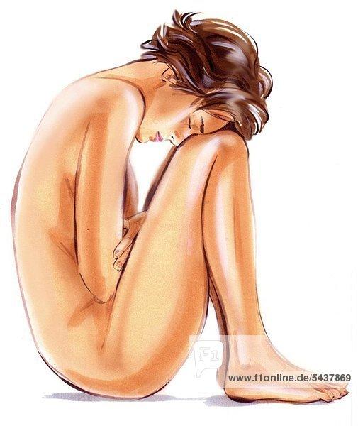 Corinna nackt auf den Knien