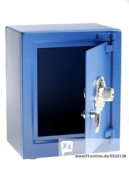 kleiner blauer spielzeug tresor mit zahlenkombinations schloss als spardose lizenzpflichtiges. Black Bedroom Furniture Sets. Home Design Ideas