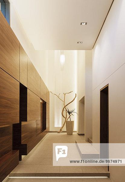 flur holz korridor korridore modern wandverkleidung lizenzfreies bild bildagentur f1online. Black Bedroom Furniture Sets. Home Design Ideas