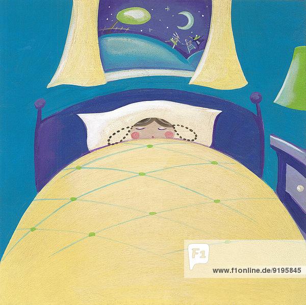 Mädchen schläft nachts im Bett, draußen spielen Spielzeuge