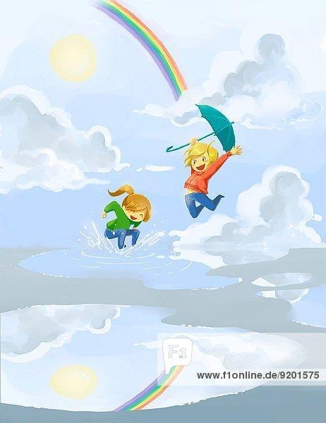 Fröhlichkeit,Tag,Regen,springen,Pfütze,Geschwister