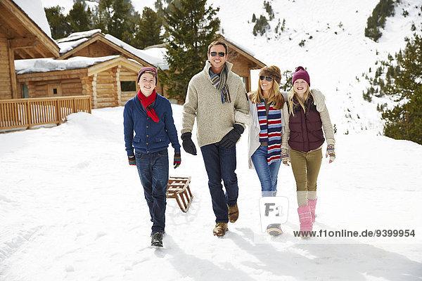 Zusammenhalt,gehen,Schnee