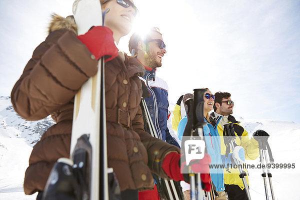 stehend,Berg,Ski,Freundschaft,hoch,oben