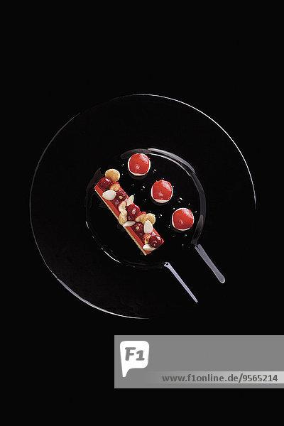 über,schwarz,Hintergrund,Kuchen,Beerenobst,schießen,Dekoration,gerade