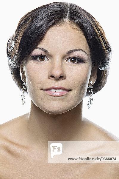 Portrait,Braut,lächeln,weiß,Hintergrund,Close-up,close-ups,close up,close ups