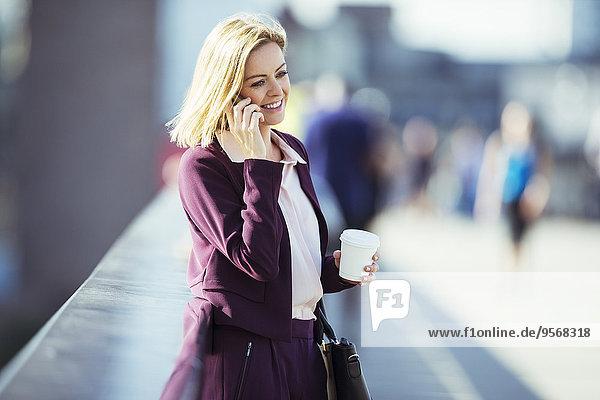 Handy,Städtisches Motiv,Städtische Motive,Straßenszene,Geschäftsfrau,sprechen,Brücke
