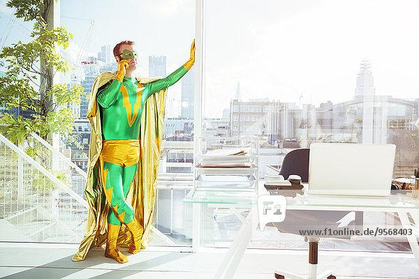Handy,sprechen,Superheld,Büro