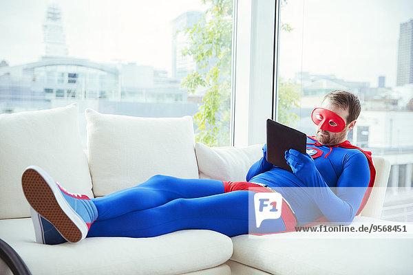 benutzen,Couch,Zimmer,Superheld,Tablet PC,Wohnzimmer