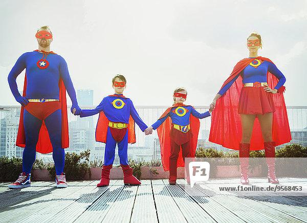 Dach,Superheld,halten,Großstadt