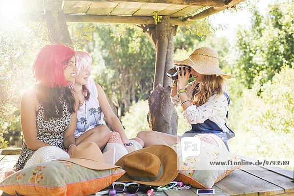 Baumhaus,Jugendlicher,nehmen,Sonnenlicht,Fotografie,3,Mädchen