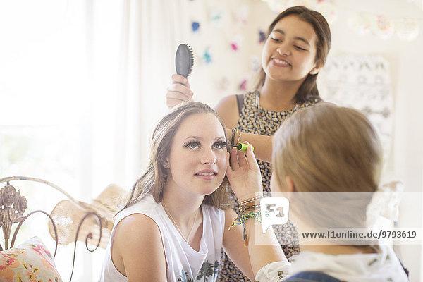 Jugendlicher,Schlafzimmer,Bürste,3,Schminke,Mädchen,Haar