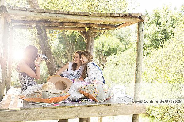 Baumhaus,Jugendlicher,nehmen,Sommer,Fotografie,3,Mädchen