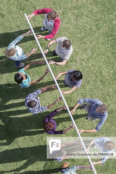 hoch,oben,Teamwork,Stange,halten