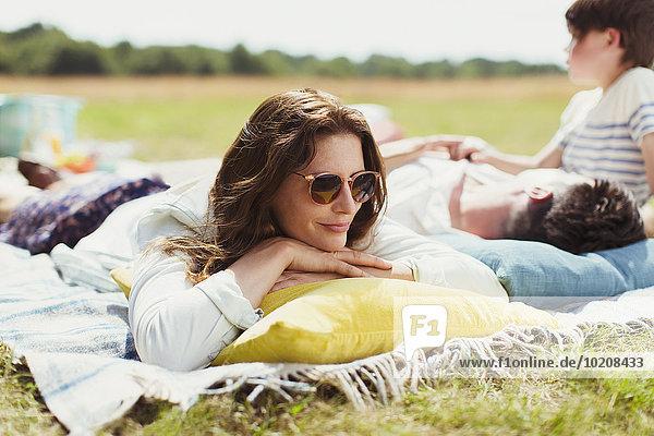 Entspannung,Decke,Feld,Sonnenlicht