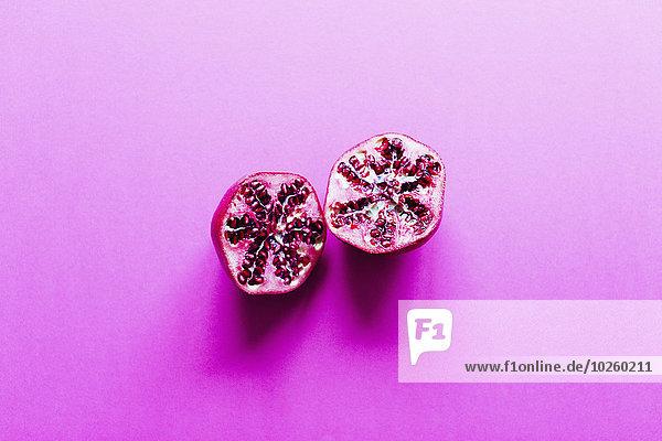 hoch,oben,schneiden,Hintergrund,pink,Ansicht,Flachwinkelansicht,Granatapfel,Winkel,Hälfte