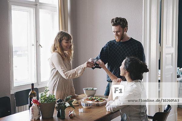 Interior,zu Hause,Mann,Freundschaft,Wein,jung