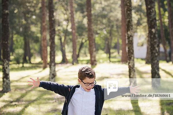 Fröhlichkeit,Junge - Person,Wald,Arme ausbreiten,Arme ausstrecken,strecken