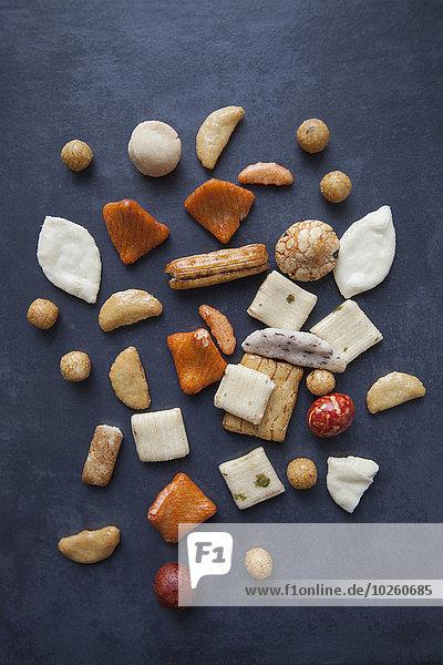 hoch,oben,Reis,Reiskorn,Ansicht,Flachwinkelansicht,Cracker,Tisch,Winkel,japanisch