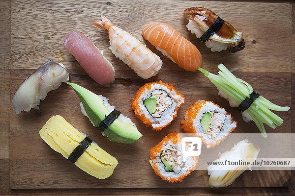 hoch,oben,einsteigen,Sushi,schneiden,Vielfalt,Ansicht,Flachwinkelansicht,Winkel