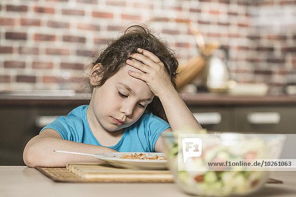 Depression,Mädchen,Tisch,Frühstück