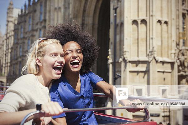 Freundschaft,lachen,Begeisterung,Omnibus,Doppelstockwagen