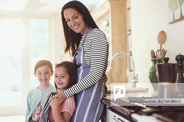 Portrait,lächeln,Küche,Tochter,Mutter - Mensch