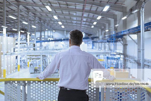 Plattform,über,Chef,hinaussehen,Fabrikgebäude