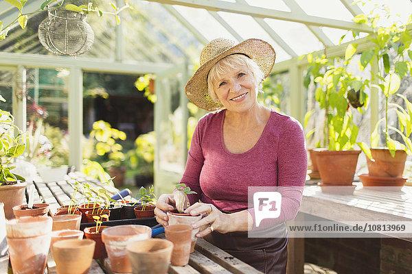 Senior,Senioren,Portrait,Frau,lächeln,Pflanze,Treibhaus,eintopfen