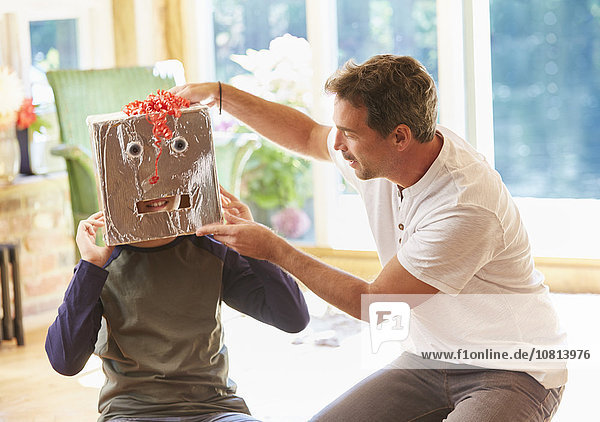 Menschlicher Vater,Sohn,02 Position,Maske,Roboter
